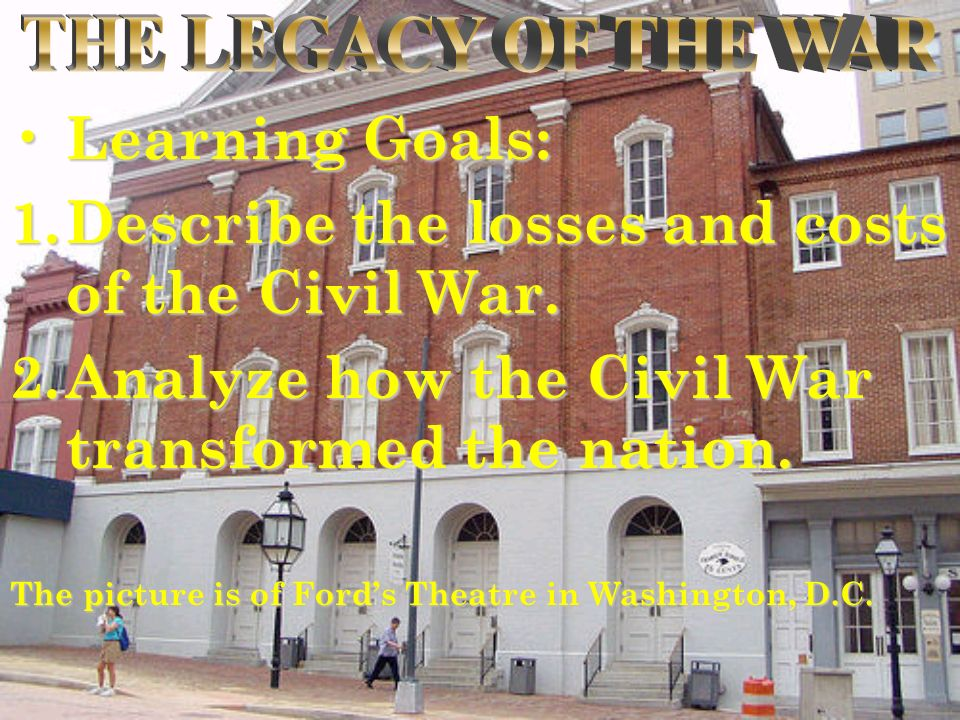 Learning Goals: Learning Goals: 1.Describe the losses and costs of the Civil War. 2.Analyze how the Civil War transformed the nation. The picture is o