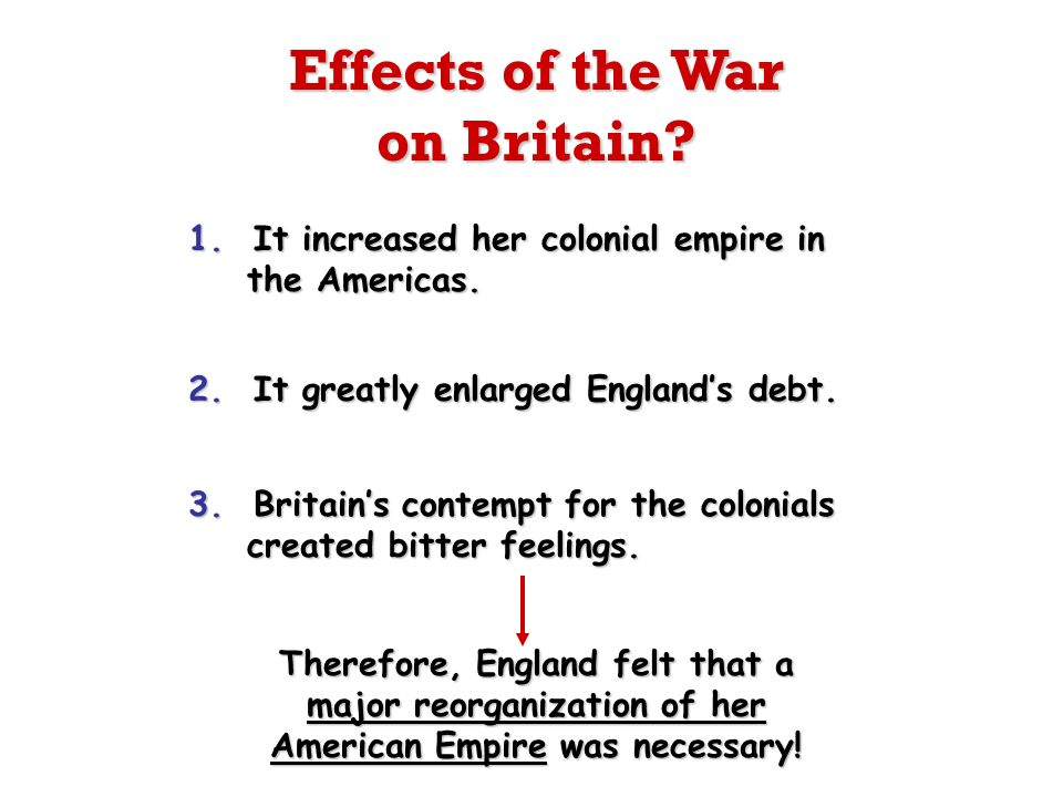1. It increased her colonial empire in the Americas. 2. It greatly enlarged Englands debt. 3. Britains contempt for the colonials created bitter feeli