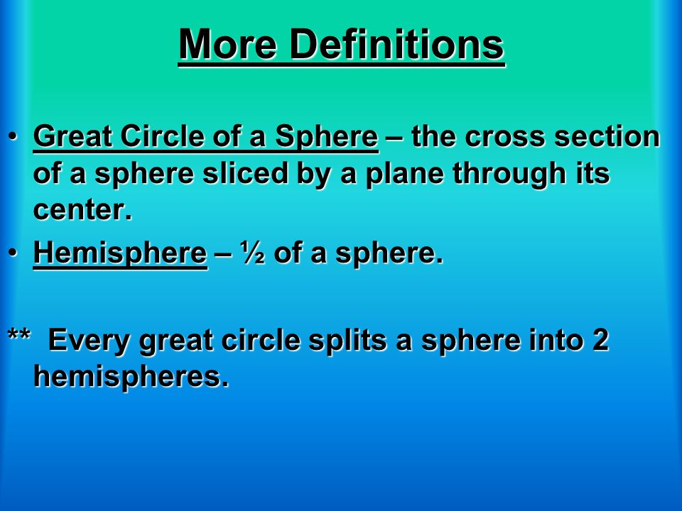 More Definitions Great Circle of a Sphere – the cross section of a sphere sliced by a plane through its center.Great Circle of a Sphere – the cross se
