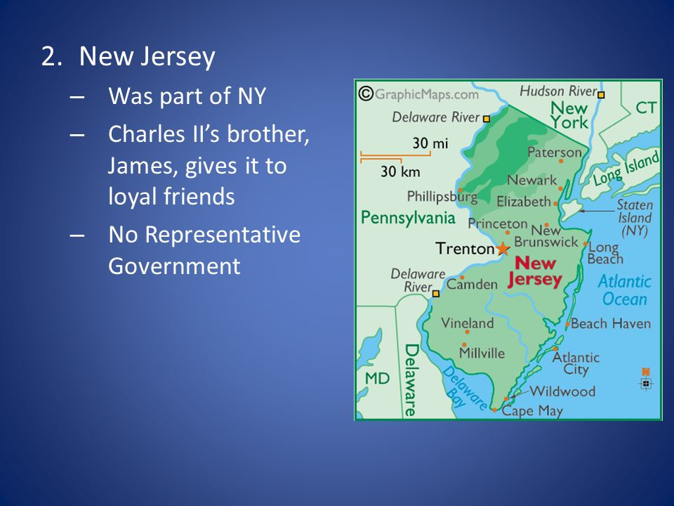 2.New Jersey – Was part of NY – Charles IIs brother, James, gives it to loyal friends – No Representative Government