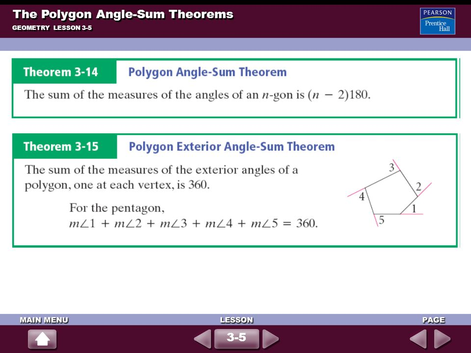GEOMETRY LESSON 3-5 The Polygon Angle-Sum Theorems 3-5