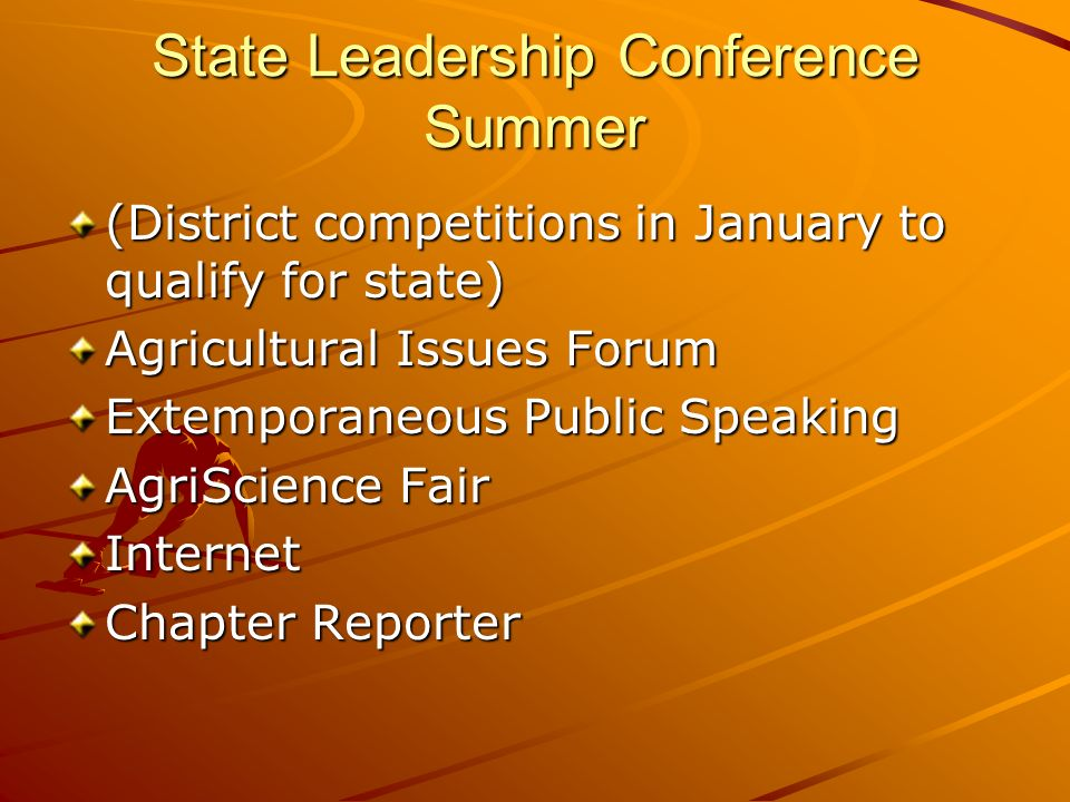 State Leadership Conference Summer (District competitions in January to qualify for state) Agricultural Issues Forum Extemporaneous Public Speaking AgriScience Fair Internet Chapter Reporter