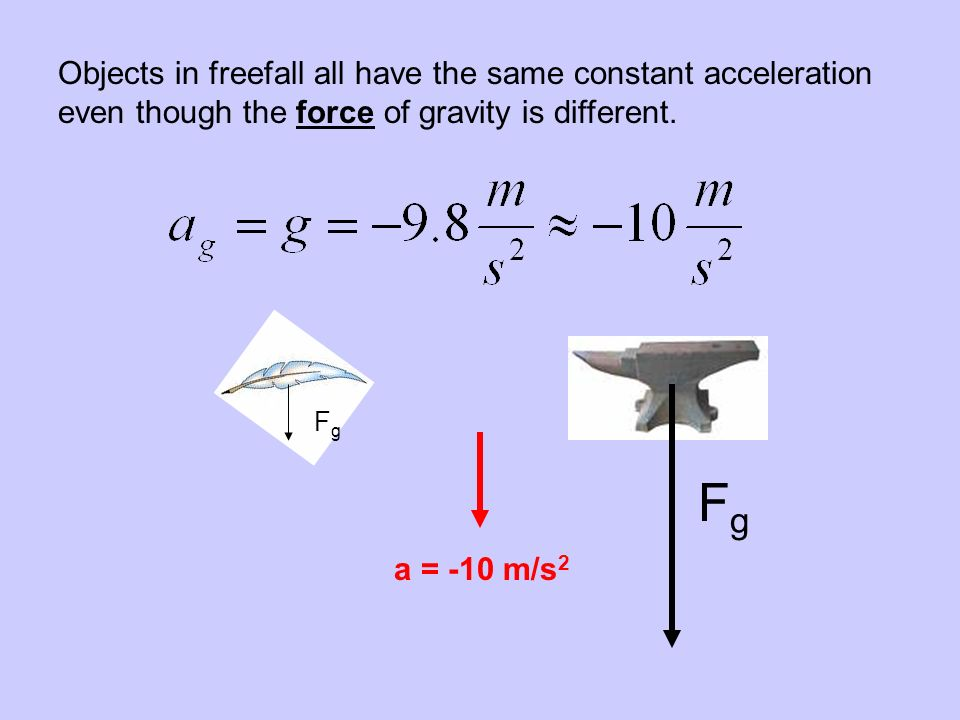 Objects in freefall all have the same constant acceleration even though the force of gravity is different.