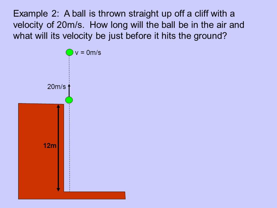 Example 2: A ball is thrown straight up off a cliff with a velocity of 20m/s. How long will the ball be in the air and what will its velocity be just