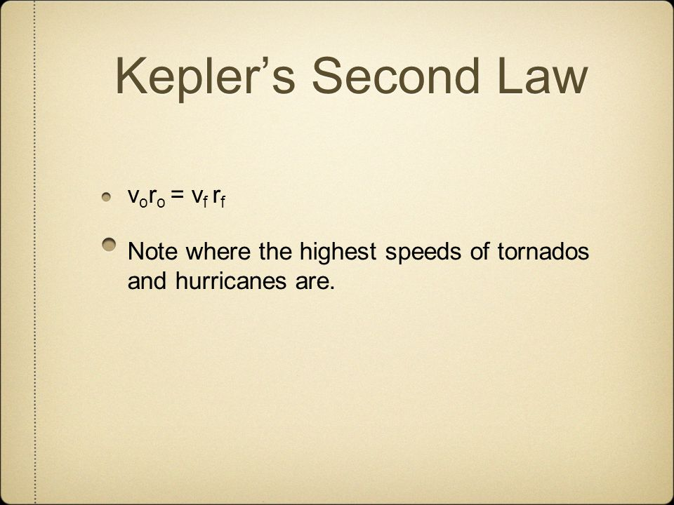 Keplers Second Law v o r o = v f r f Note where the highest speeds of tornados and hurricanes are.
