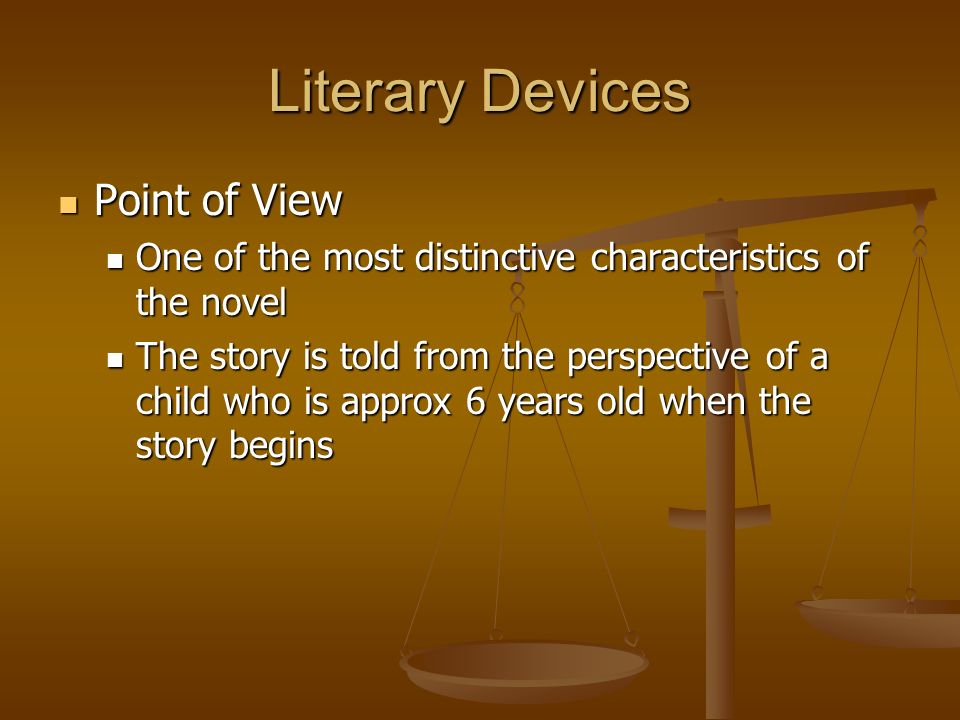Literary Devices Point of View Point of View One of the most distinctive characteristics of the novel One of the most distinctive characteristics of t