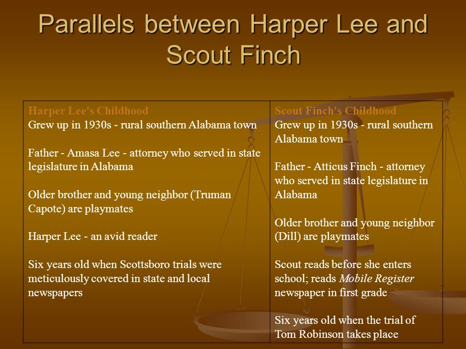Parallels between Harper Lee and Scout Finch Harper Lee's Childhood Grew up in 1930s - rural southern Alabama town Father - Amasa Lee - attorney who s