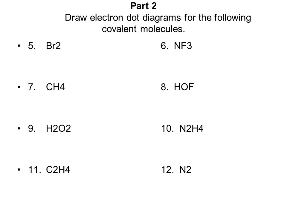 General Chemistry – Unit 6 Worksheet 3 Electron-Dot Diagrams Part 1 Use electron dot symbols to represent the formation of the stable ionic compounds from neutral atoms.