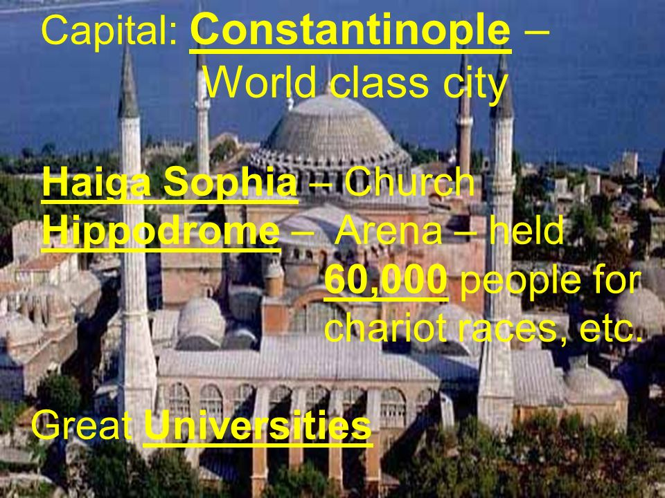 Capital: Constantinople – World class city Haiga Sophia – Church Hippodrome – Arena – held 60,000 people for chariot races, etc. Great Universities