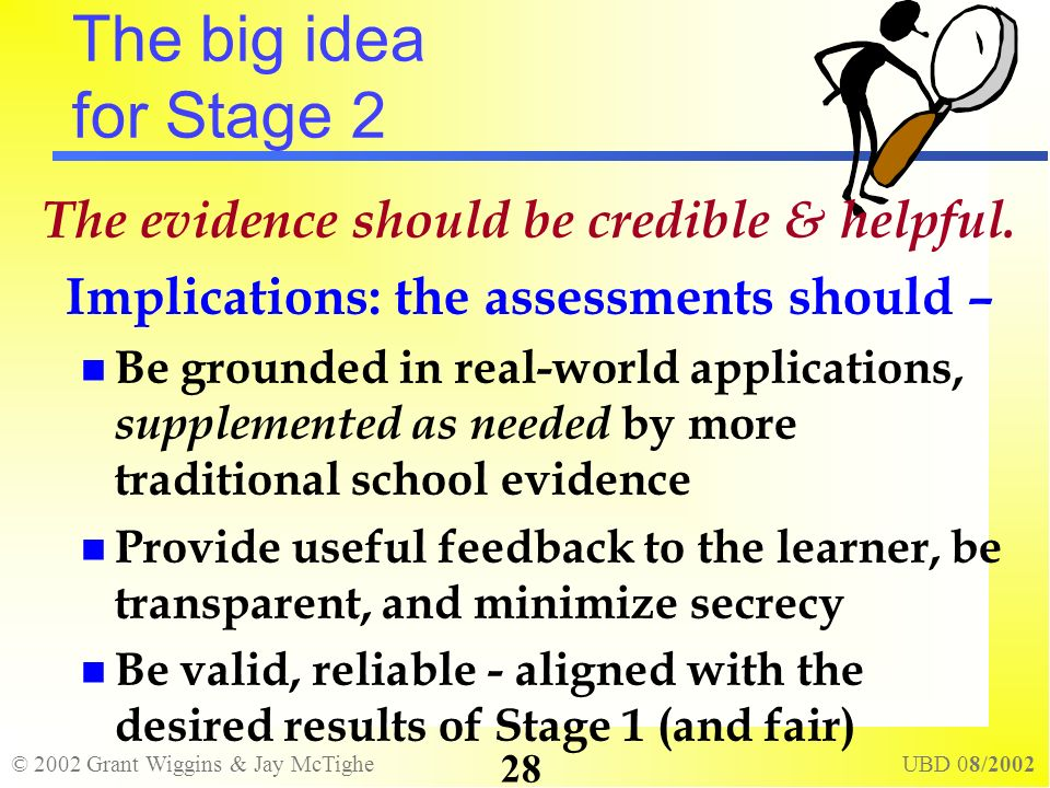 © 2002 Grant Wiggins & Jay McTighe UBD 08/2002 28 The big idea for Stage 2 The evidence should be credible & helpful. Implications: the assessments sh
