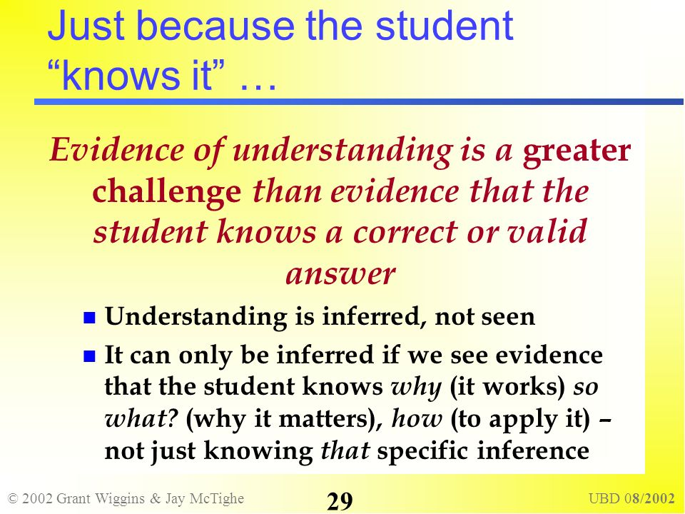 © 2002 Grant Wiggins & Jay McTighe UBD 08/2002 29 Just because the student knows it … Evidence of understanding is a greater challenge than evidence t