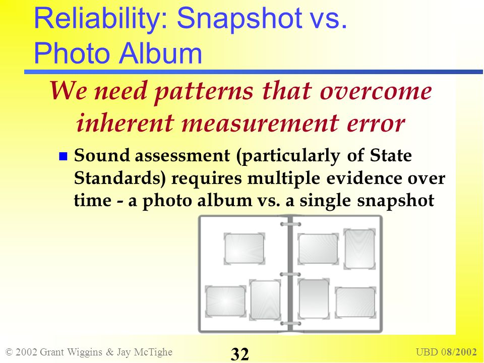© 2002 Grant Wiggins & Jay McTighe UBD 08/2002 32 Reliability: Snapshot vs. Photo Album We need patterns that overcome inherent measurement error Soun