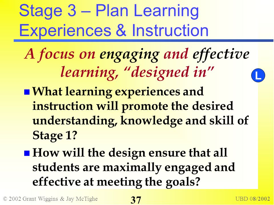 © 2002 Grant Wiggins & Jay McTighe UBD 08/2002 37 Stage 3 – Plan Learning Experiences & Instruction A focus on engaging and effective learning, design