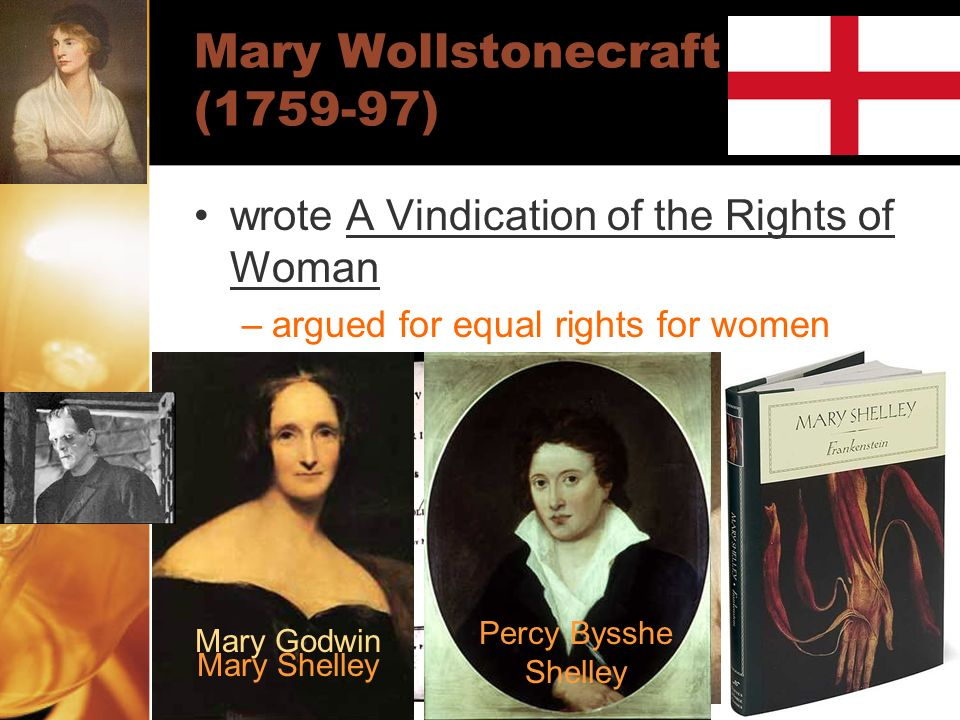 Mary Wollstonecraft (1759-97) wrote A Vindication of the Rights of Woman –argued for equal rights for women Mary Godwin Percy Bysshe Shelley Mary Shel
