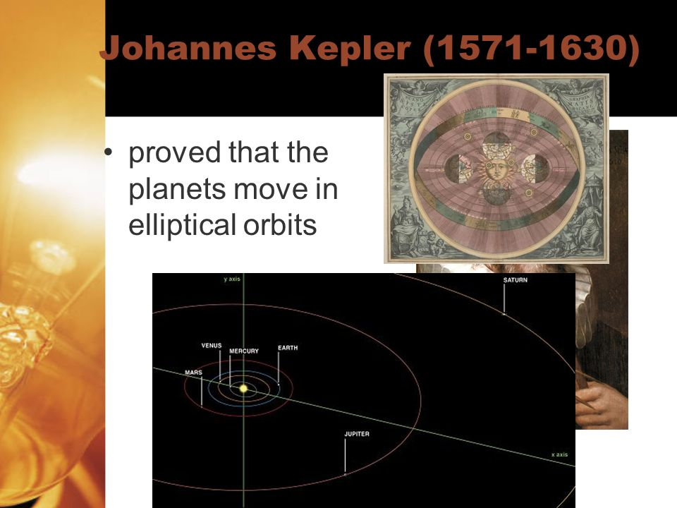 Johannes Kepler (1571-1630) proved that the planets move in elliptical orbits