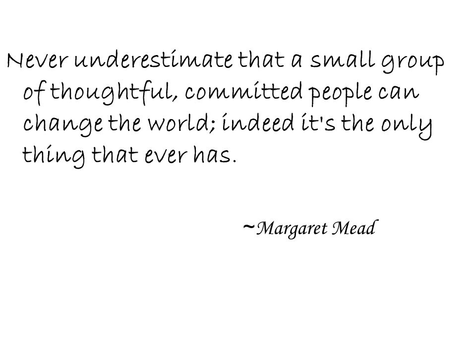 Never underestimate that a small group of thoughtful, committed people can change the world; indeed it's the only thing that ever has. ~ Margaret Mead