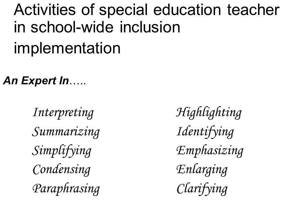 Activities of special education teacher in school-wide inclusion implementation An Expert In….. InterpretingHighlighting SummarizingIdentifying Simpli