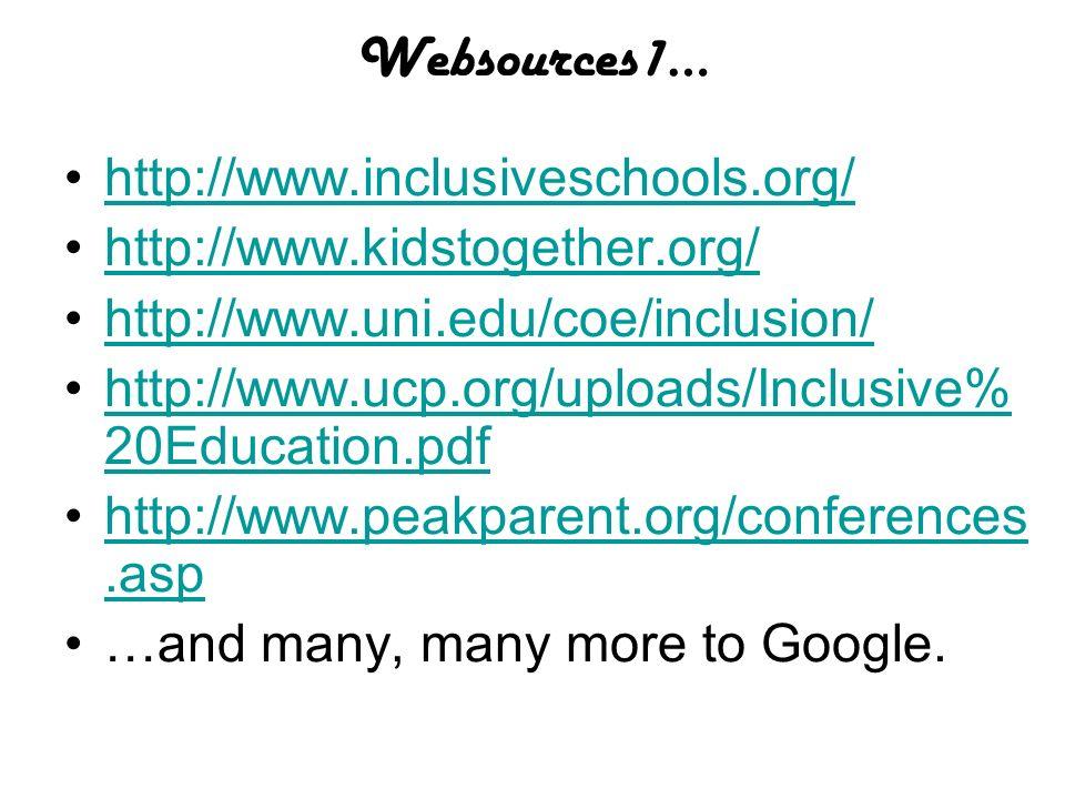 Websources1… http://www.inclusiveschools.org/ http://www.kidstogether.org/ http://www.uni.edu/coe/inclusion/ http://www.ucp.org/uploads/Inclusive% 20E