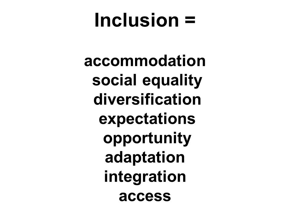 Inclusion = accommodation social equality diversification expectations opportunity adaptation integration access