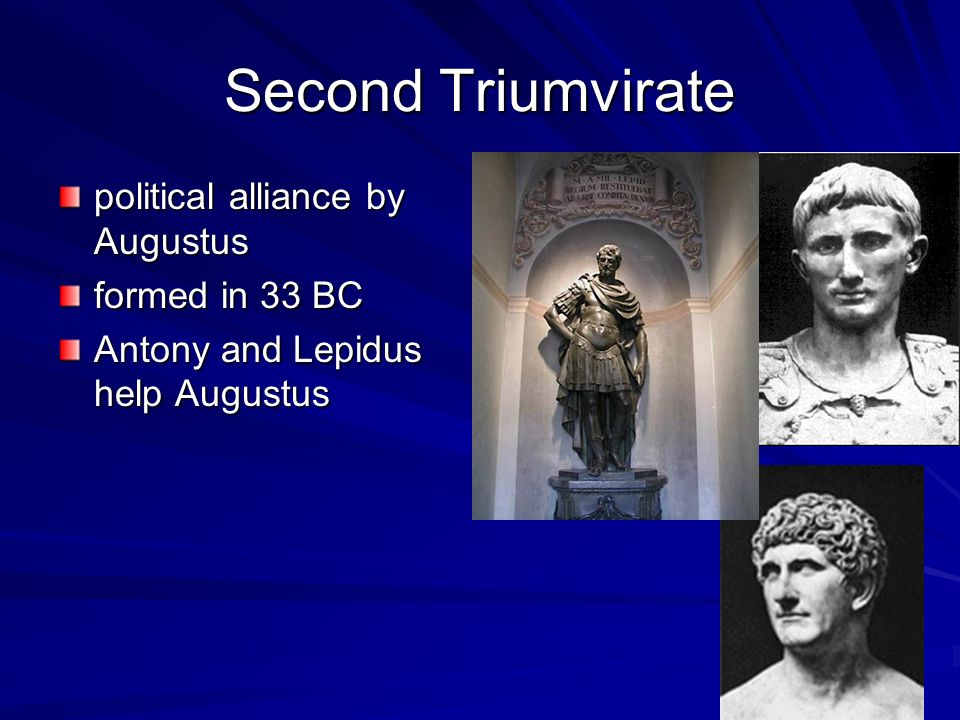 Civil War Augustus declares war on Egypt Antony committed suicide with Queen Cleopatra of Egypt Julius Caesar was murdered Augustus returned home triumphantly