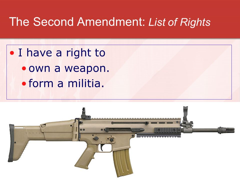 The Second Amendment: List of Rights I have a right to own a weapon. form a militia.