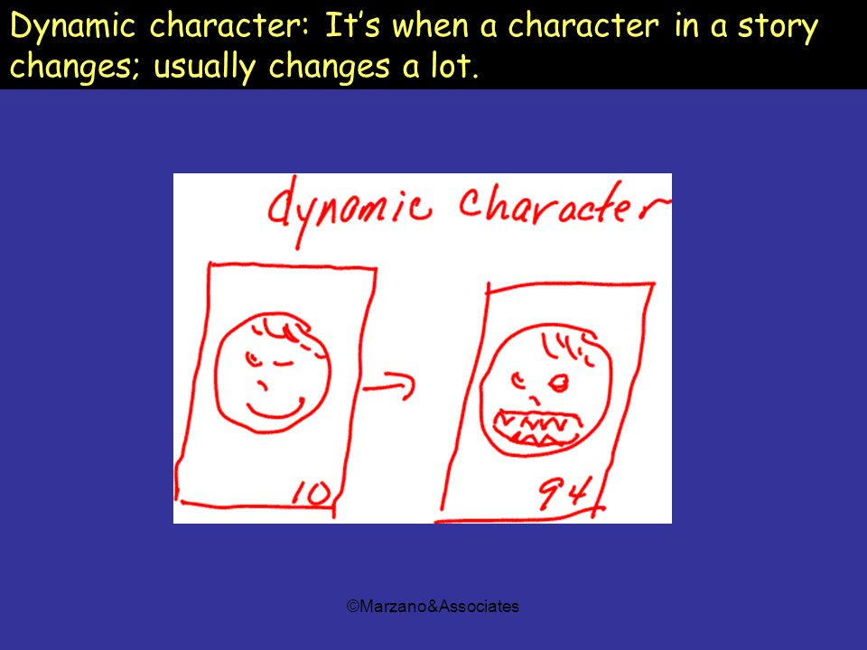 ©Marzano&Associates Dynamic character: Its when a character in a story changes; usually changes a lot.