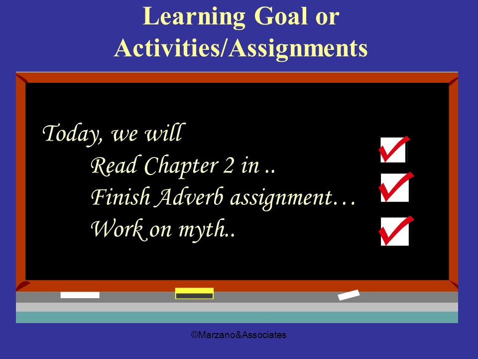 ©Marzano&Associates 3 Learning Goal or Activities/Assignments Today, we will Read Chapter 2 in.. Finish Adverb assignment… Work on myth..