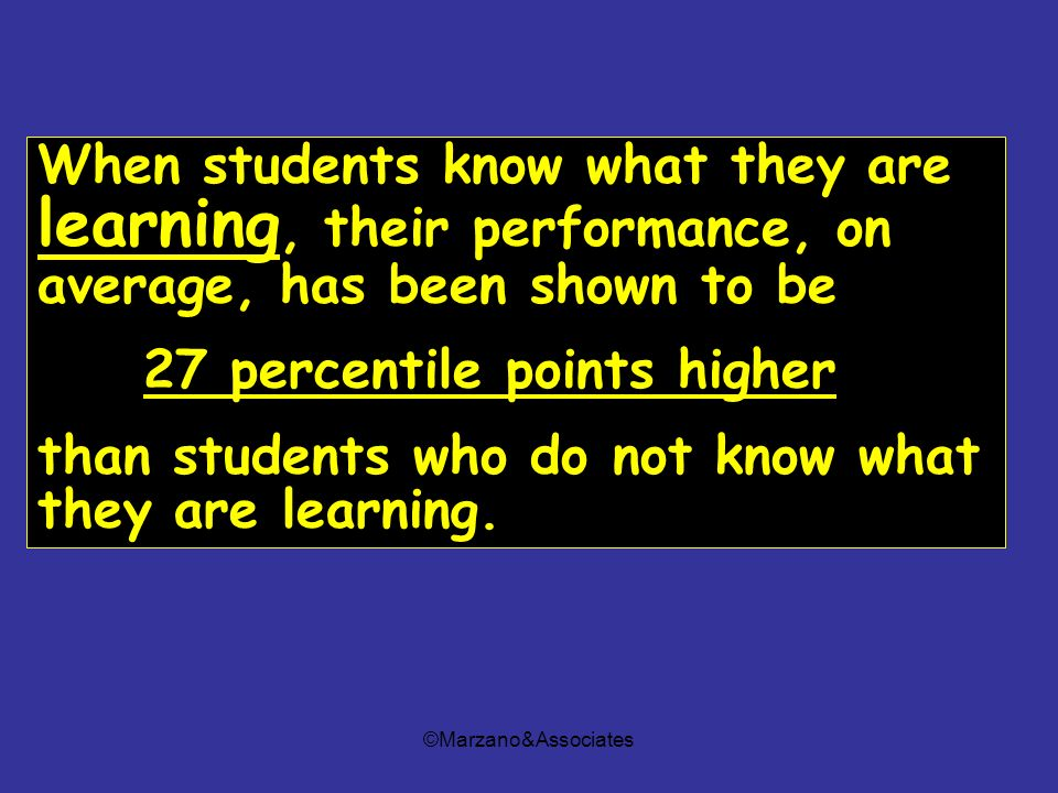 ©Marzano&Associates When students know what they are learning, their performance, on average, has been shown to be 27 percentile points higher than st