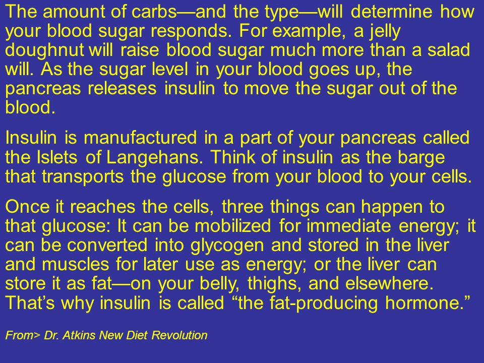 The amount of carbsand the typewill determine how your blood sugar responds. For example, a jelly doughnut will raise blood sugar much more than a sal