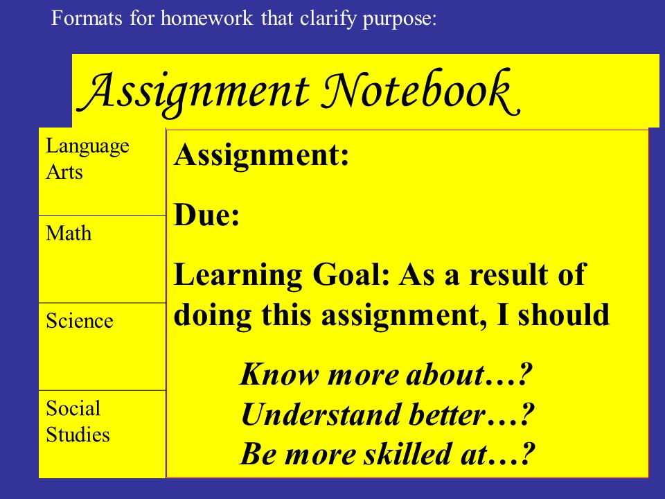 ©Marzano&Associates Formats for homework that clarify purpose: Assignment Notebook Language Arts Assignment: Due: Learning Goal: As a result of doing