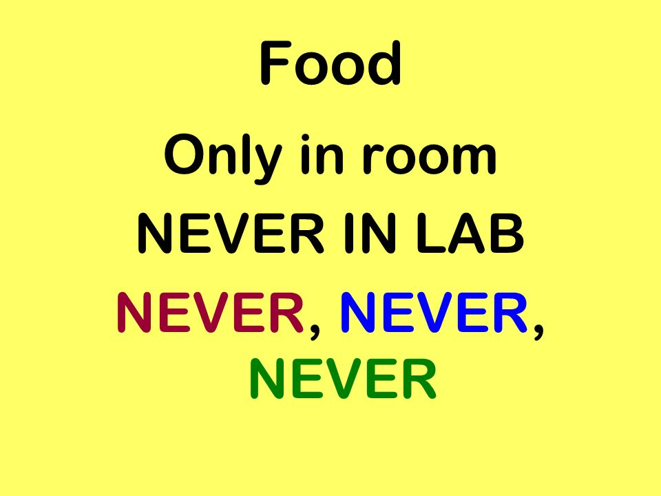 Food Only in room NEVER IN LAB NEVER, NEVER, NEVER