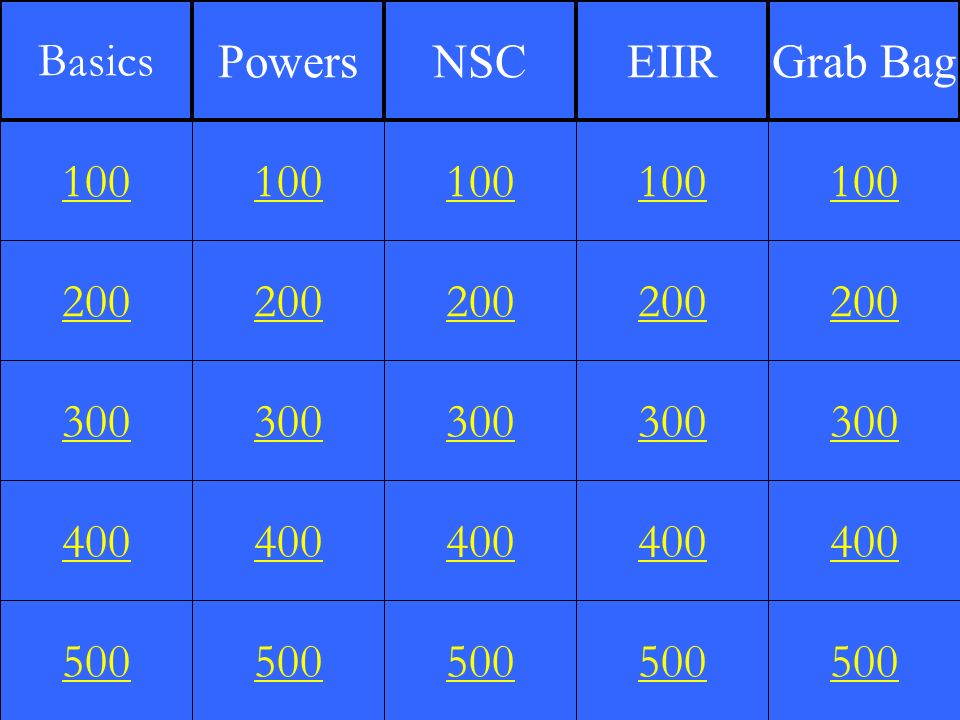 200 300 400 500 100 200 300 400 500 100 200 300 400 500 100 200 300 400 500 100 200 300 400 500 100 Basics PowersNSCEIIRGrab Bag
