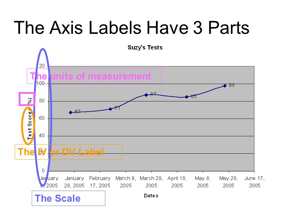 The Axis Labels Have 3 Parts The Scale The IV or DV Label The units of measurement