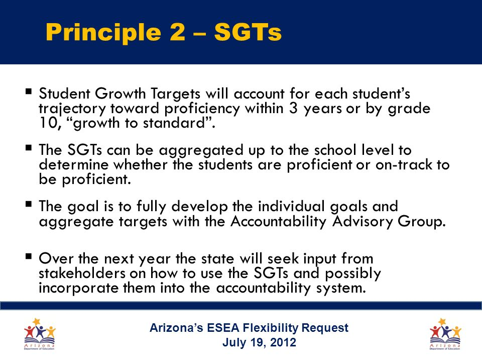 Principle 2 – SGTs Student Growth Targets will account for each students trajectory toward proficiency within 3 years or by grade 10, growth to standard.