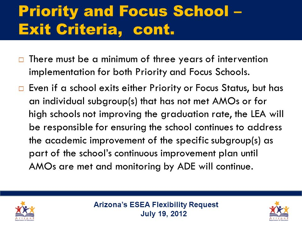 Priority and Focus School – Exit Criteria, cont. There must be a minimum of three years of intervention implementation for both Priority and Focus Sch