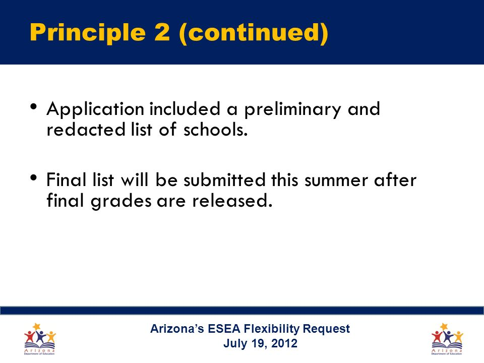Principle 2 (continued) Application included a preliminary and redacted list of schools.