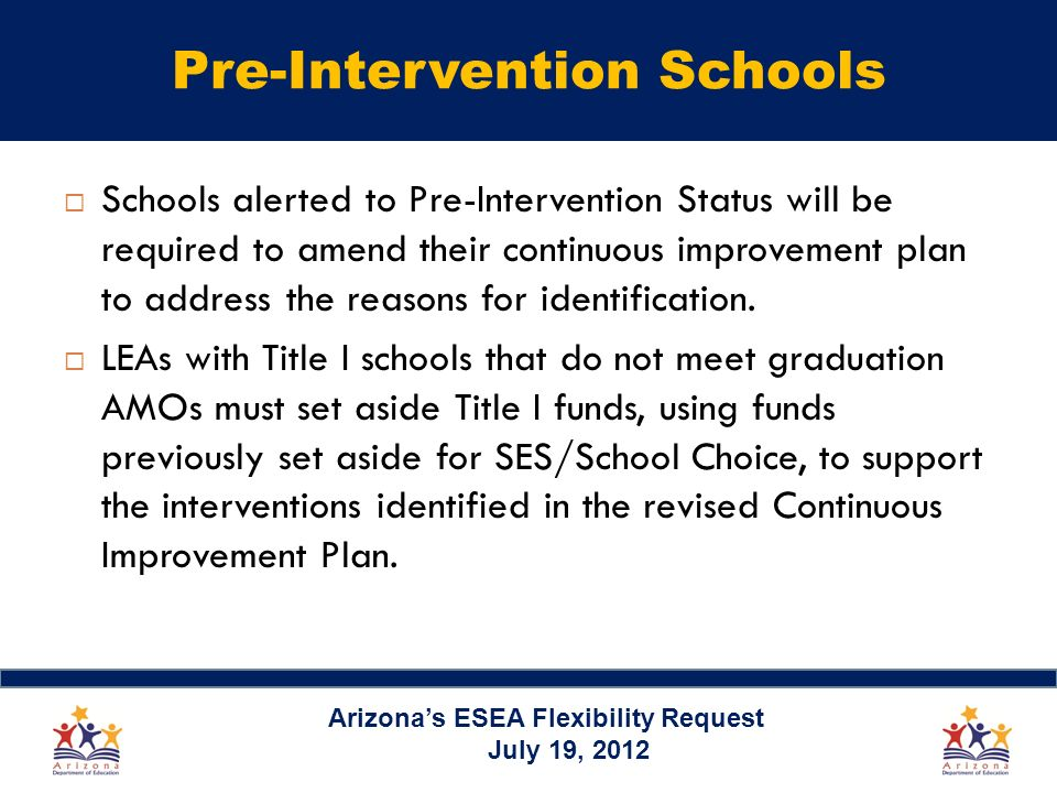 Pre-Intervention Schools Schools alerted to Pre-Intervention Status will be required to amend their continuous improvement plan to address the reasons for identification.