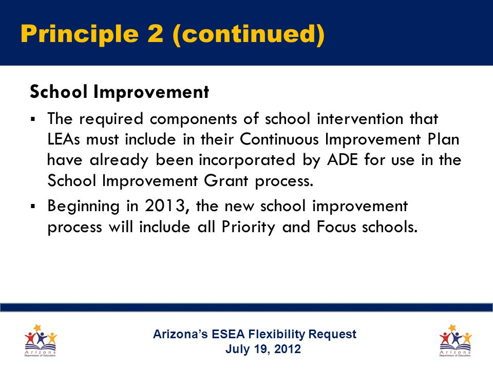 Principle 2 (continued) School Improvement The required components of school intervention that LEAs must include in their Continuous Improvement Plan have already been incorporated by ADE for use in the School Improvement Grant process.