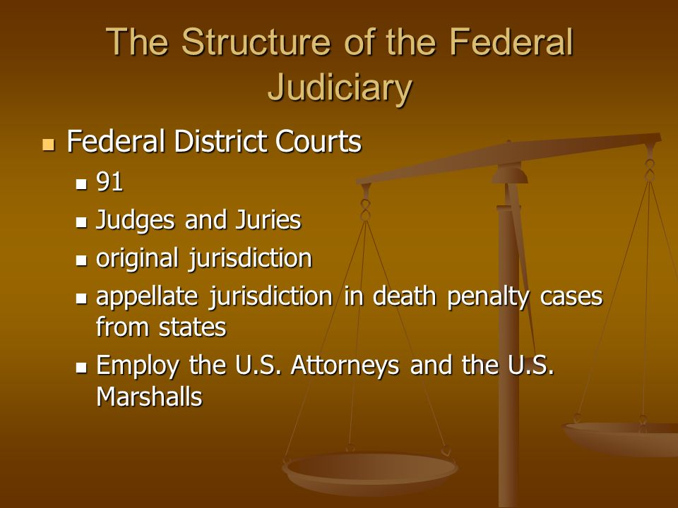 The Structure of the Federal Judiciary Federal District Courts Federal District Courts 91 91 Judges and Juries Judges and Juries original jurisdiction