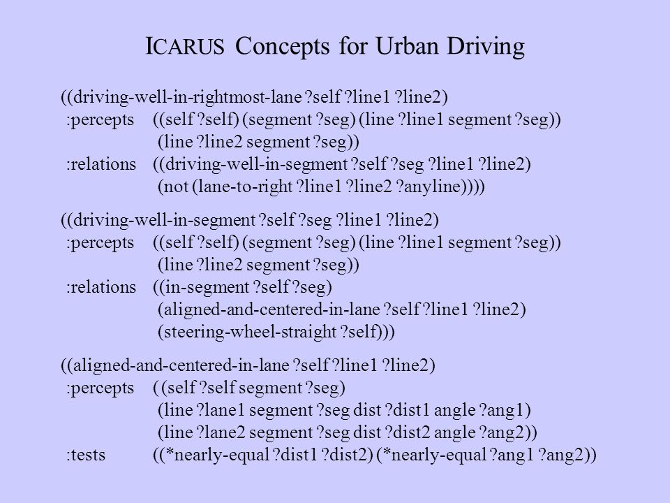 I CARUS Concepts for Urban Driving ((driving-well-in-rightmost-lane self line1 line2) :percepts ((self self) (segment seg) (line line1 segment seg)) (line line2 segment seg)) :relations((driving-well-in-segment self seg line1 line2) (not (lane-to-right line1 line2 anyline)))) ((driving-well-in-segment self seg line1 line2) :percepts ((self self) (segment seg) (line line1 segment seg)) (line line2 segment seg)) :relations ((in-segment self seg) (aligned-and-centered-in-lane self line1 line2) (steering-wheel-straight self))) ((aligned-and-centered-in-lane self line1 line2) :percepts((self self segment seg) (line lane1 segment seg dist dist1 angle ang1) (line lane2 segment seg dist dist2 angle ang2)) :tests ((*nearly-equal dist1 dist2) (*nearly-equal ang1 ang2))