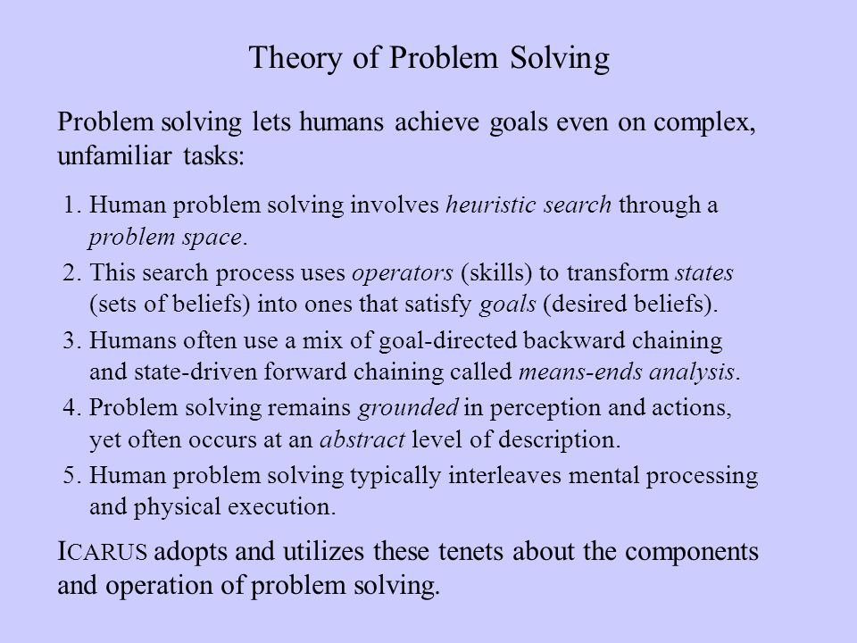1.Human problem solving involves heuristic search through a problem space.