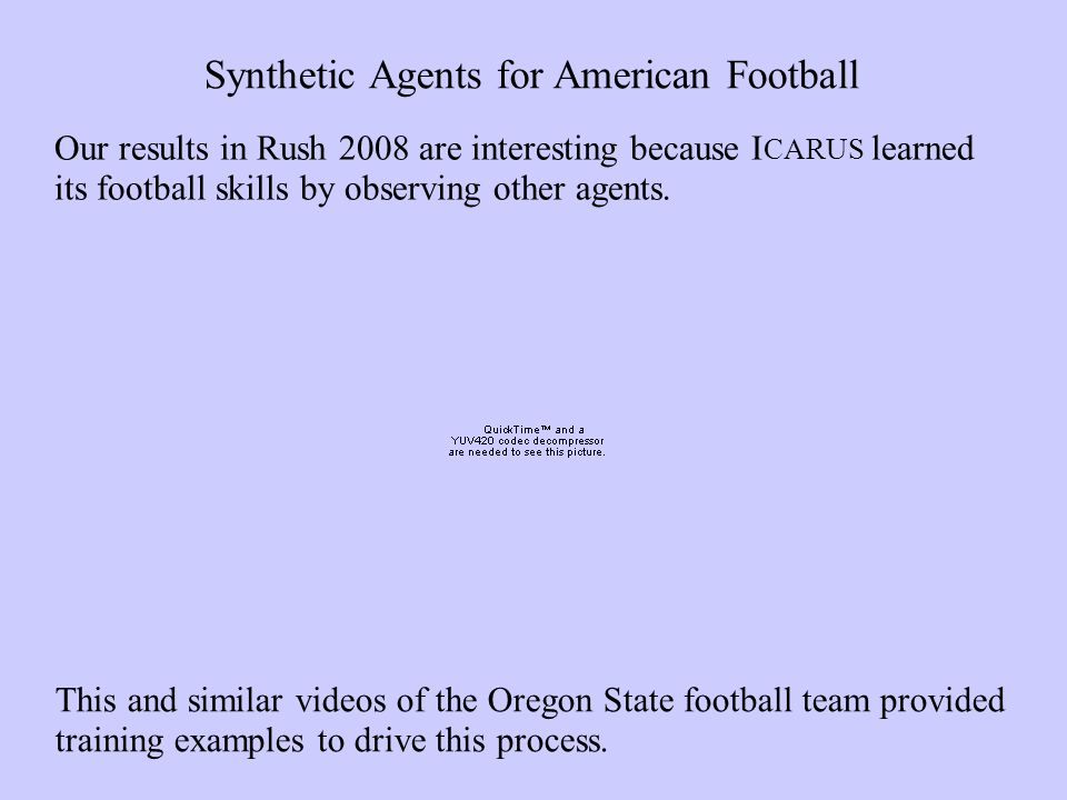 Our results in Rush 2008 are interesting because I CARUS learned its football skills by observing other agents.