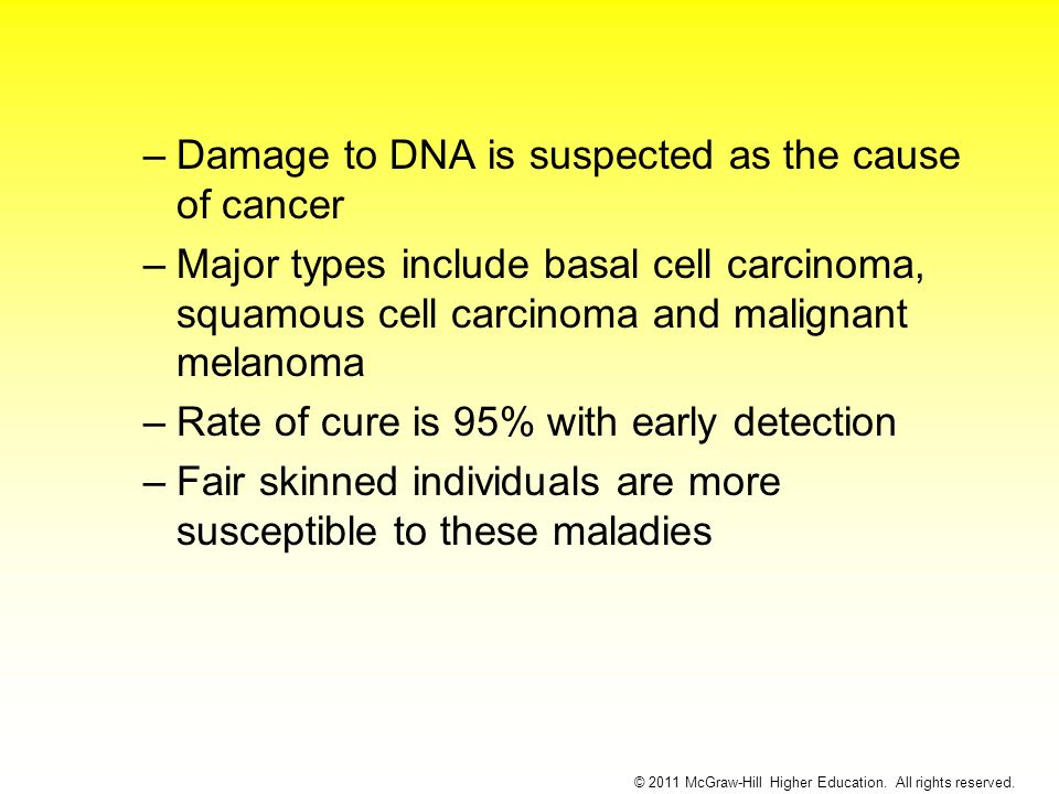 –Damage to DNA is suspected as the cause of cancer –Major types include basal cell carcinoma, squamous cell carcinoma and malignant melanoma –Rate of