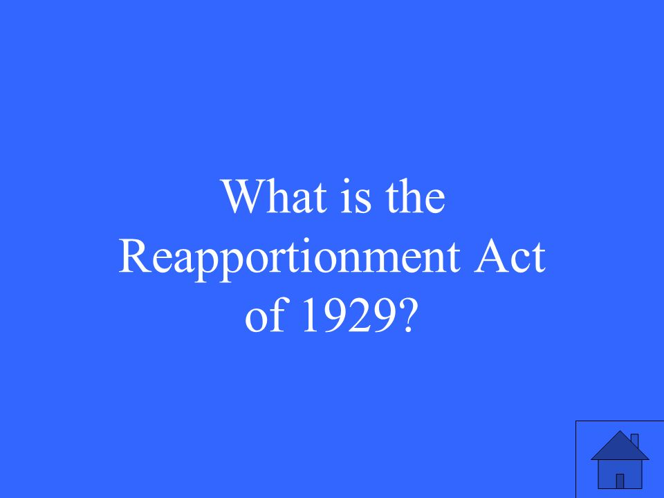 This is the act that permanently set the number of seats in the House of Representatives