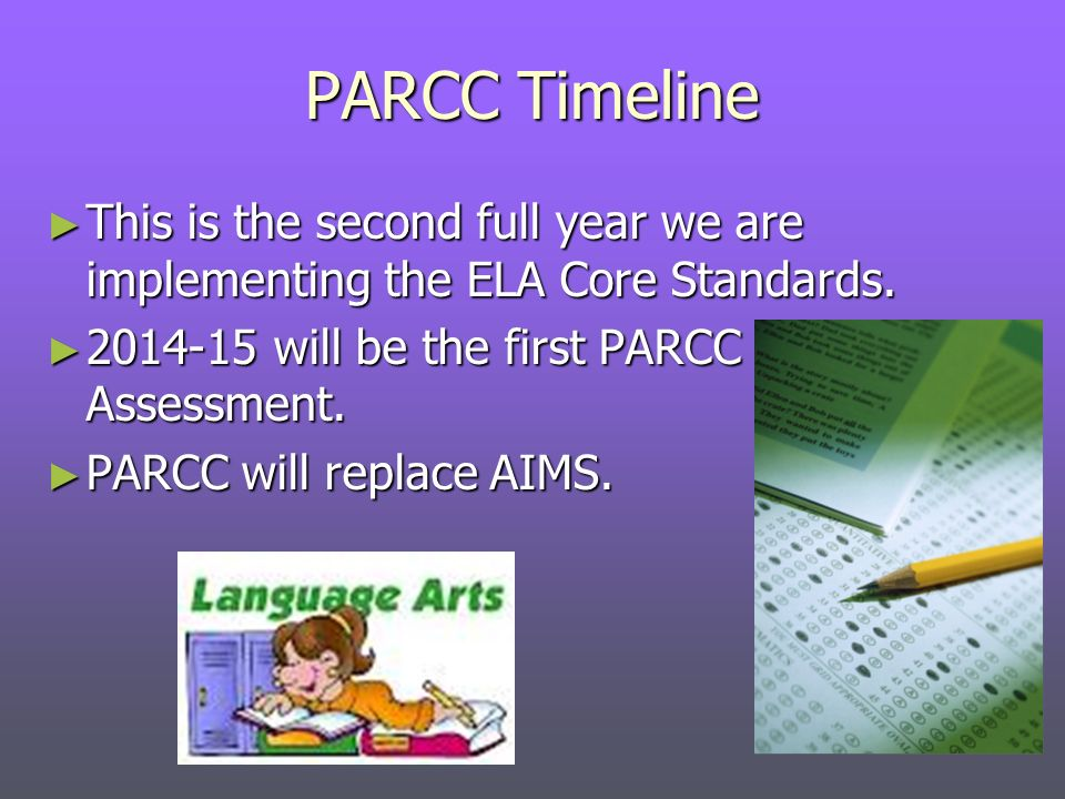 PARCC Timeline This is the second full year we are implementing the ELA Core Standards.