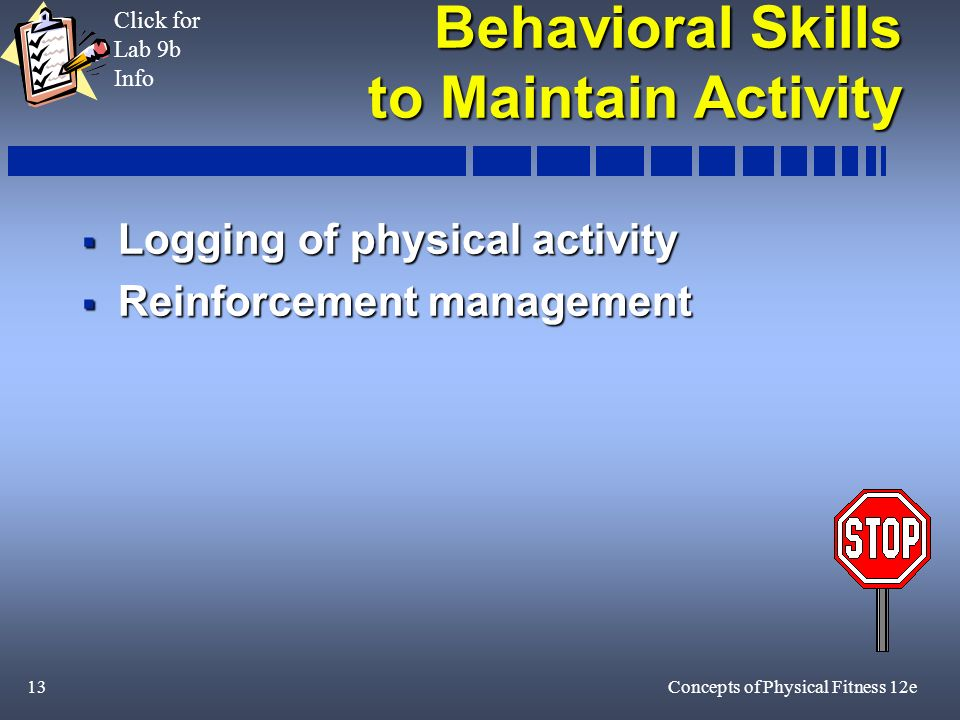 13Concepts of Physical Fitness 12e Behavioral Skills to Maintain Activity Logging of physical activity Logging of physical activity Reinforcement management Reinforcement management Click for Lab 9b Info