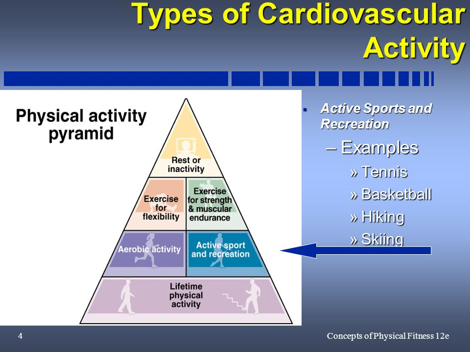 4Concepts of Physical Fitness 12e Types of Cardiovascular Activity Active Sports and Recreation Active Sports and Recreation –Examples »Tennis »Basketball »Hiking »Skiing