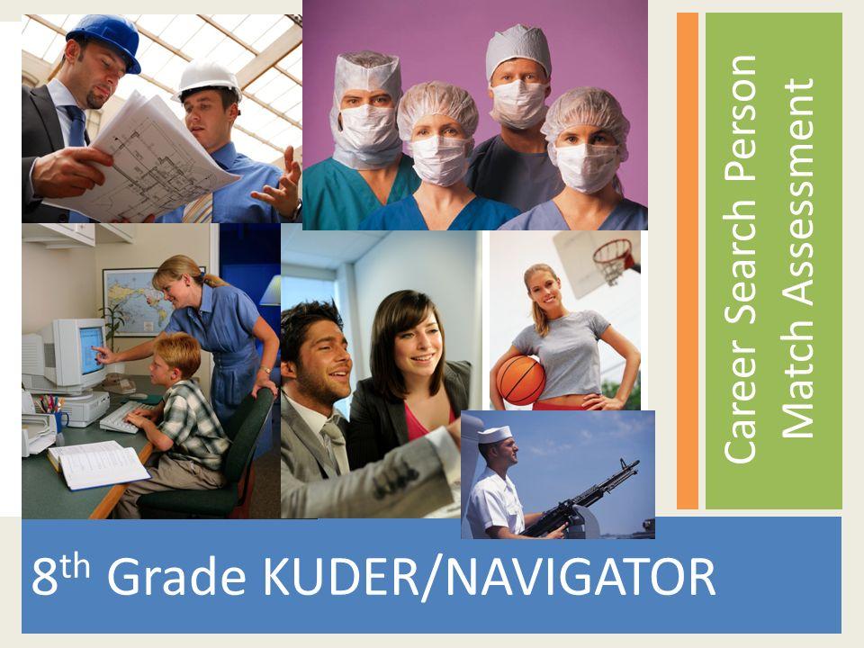 8 th Grade KUDER/NAVIGATOR Career Search Person Match Assessment