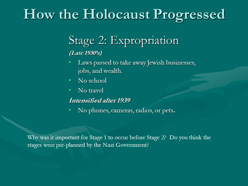 How the Holocaust Progressed Stage 2: Expropriation (Late 1930s) Laws passed to take away Jewish businesses, jobs, and wealth.Laws passed to take away