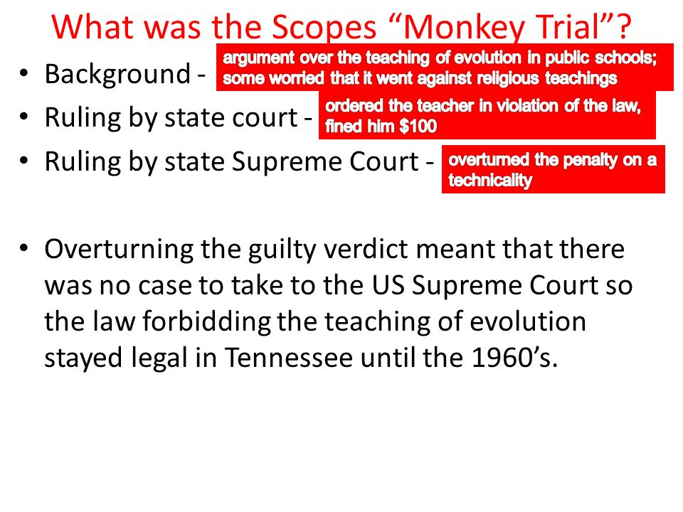 What was the Scopes Monkey Trial.